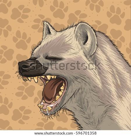 Hyena head vector with footprint background