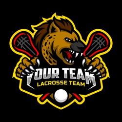 Hyena mascot for a lacrosse team logo. Vector Illustration.