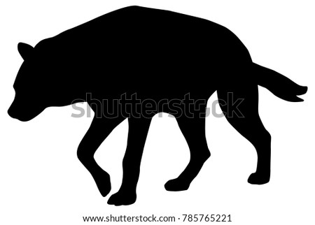 Hyena silhouette as black