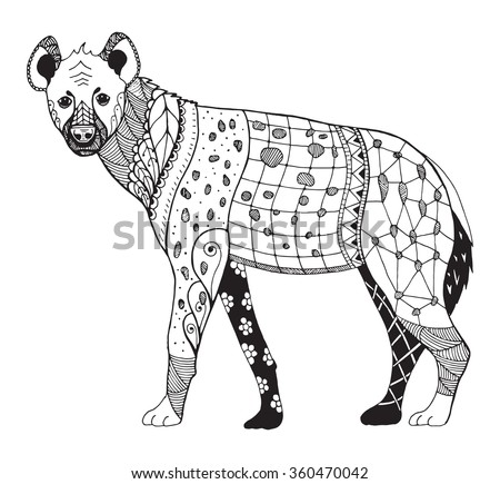Hyena zentangle stylized, vector, illustration, freehand pencil, hand drawn, zen art, pattern.