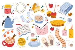 Hygge autumn set, collection of hand drawn clip arts of seasonal indoor activities, vector illustrations. Sybmols of cozy home and comfort, food, utensils, clothes, accessories. sticker pack