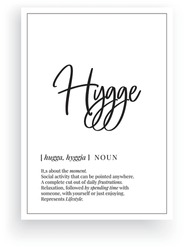 Hygge definition, vector. Minimalist poster design. Wall decals, hygge noun description. Wording Design isolated on white background, lettering. Wall art artwork. Modern poster design in frame