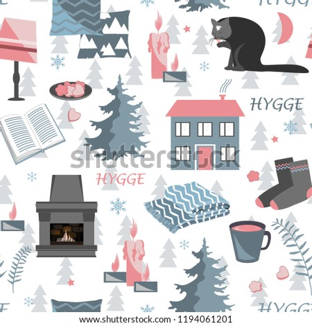 Hygge seamless pattern. Vector illustration with forest plants and cozy home things
