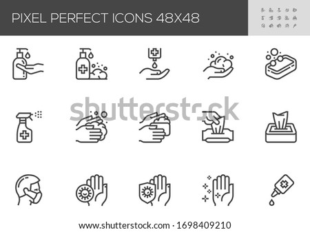 Hygiene and Protection from Infection Vector Line Icons. Washing Hands, Antiseptic Gel, Cleaning Tissues. Editable Stroke. 48x48 Pixel Perfect.