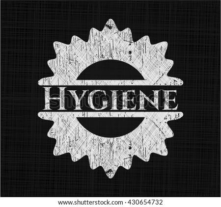 Hygiene chalk emblem, retro style, chalk or chalkboard texture