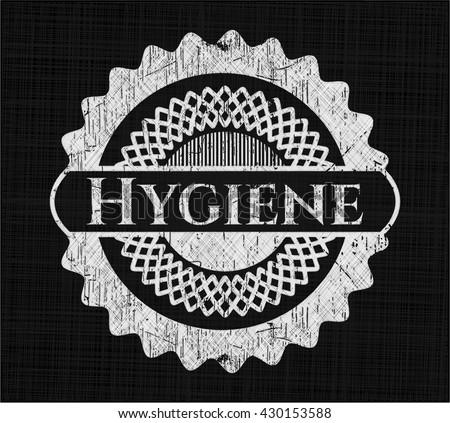 Hygiene chalkboard emblem on black board