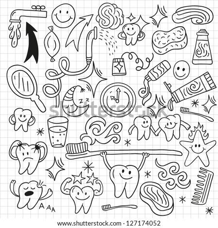 Hygiene doodles - stock vector
