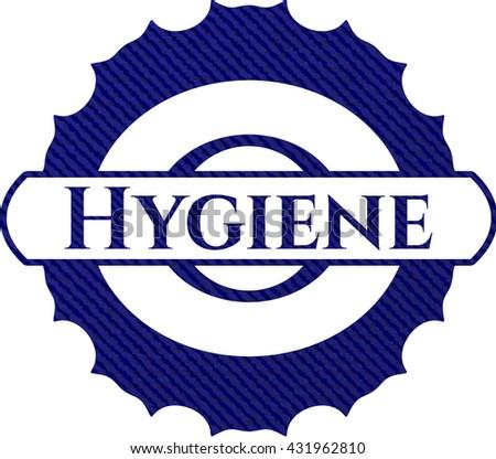 Hygiene emblem with jean high quality background