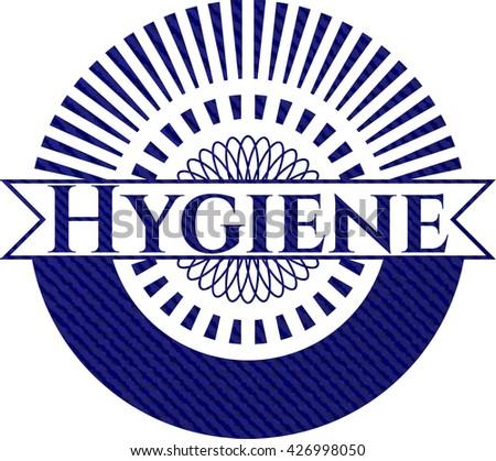 Hygiene emblem with jean texture