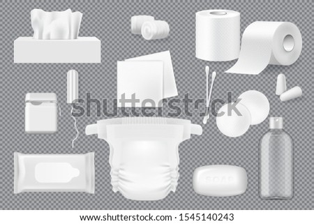 Hygiene product 3d mockups with vector soap, cotton wool, pads and swabs, paper napkins, wet wipe and toilet paper. Floss, diaper and tampon, ear plugs and bottle of micellar water. Mixed media