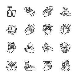 Hygiene related thin icon set 4, vector eps10.
