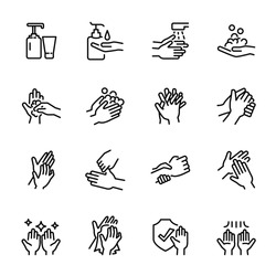 Hygiene related thin icon set 7, vector eps10.