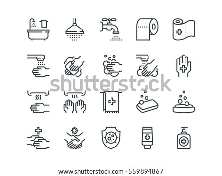 Hygiene. Set of outline vector icons on a white background