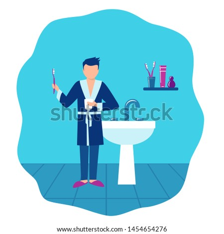 Hygiene: the boy brushes teeth. He has in hands a toothbrush and a glass, he costs against the background of the bathroom. Eps10 vector flat illustration. #1454654276