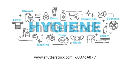 hygiene vector banner design concept, flat style with thin line art icons on white background