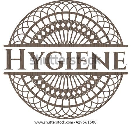 Hygiene vintage wooden emblem
