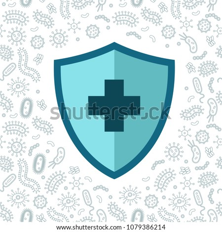 hygienic shield protecting from virus, germs and bacteria. Flat style vector illustration.