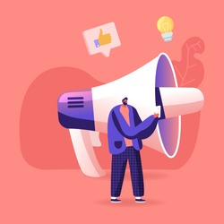 Hype, Blogging or Social Media Networking Concept. Man Character Stand at Huge Megaphone with Smartphone in Hand Broadcasting Viral Streaming Video Post, Announcement. Cartoon Vector Illustration