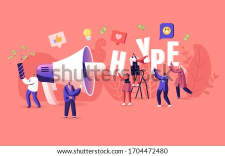 Hype, Social Media Viral or Fake Content Spreading Concept. Tiny Male and Female Characters with Huge Letters in Hands and Megaphone. Money Bills Flying around. Cartoon Vector People Illustration