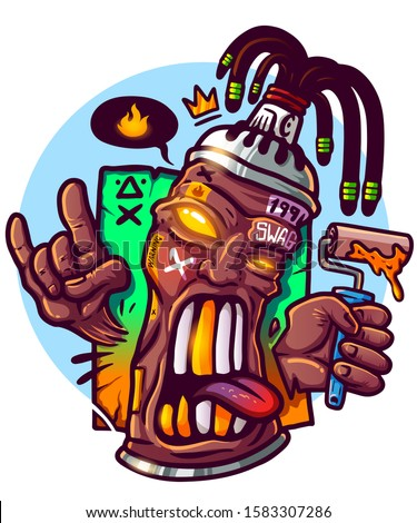 Hype street wear print for merch. Spray paint gangster with dreadlocks. vector print for clothes. Black lives matter. Print for t shirt. Tshirt design. Swag cartoon character hipster spray paint Stock photo ©