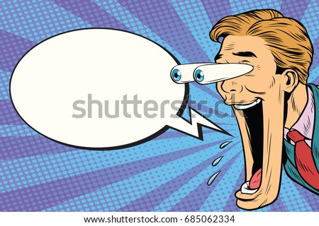 Hyper expressive reaction cartoon man face, big eyes and wide open mouth. Comic bubble. Pop art retro comic book vector illustration