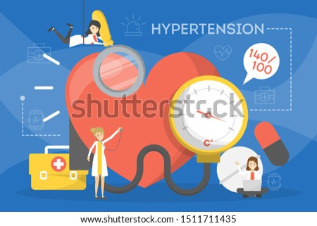 Hypertension concept. Idea of high blood pressure, health problem diagnosis. Pulse measurement. Vector illustration in cartoon style