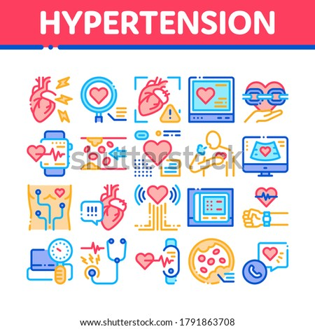 Hypertension Disease Collection Icons Set Vector. Hypertension Ill And Treatment, Heart Research And Examination, Fitness Bracelet And Watch Concept Linear Pictograms. Color Contour Illustrations Stock photo ©