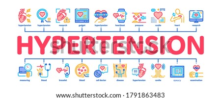 Hypertension Disease Minimal Infographic Web Banner Vector. Hypertension Ill And Treatment, Heart Research And Examination, Fitness Bracelet And Watch Illustration Foto d'archivio ©