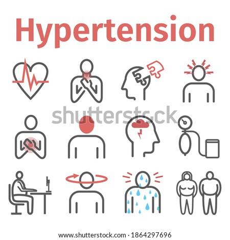 Hypertension. Symptoms, Treatment. Line icons set. Vector signs for web graphics. Foto d'archivio ©