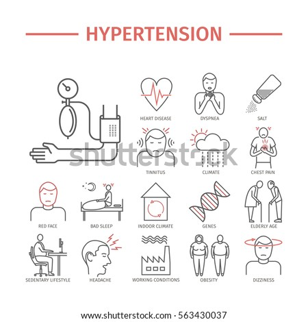 Hypertension. Symptoms, treatment. Line icons set. Vector signs for web graphics. Stock photo ©