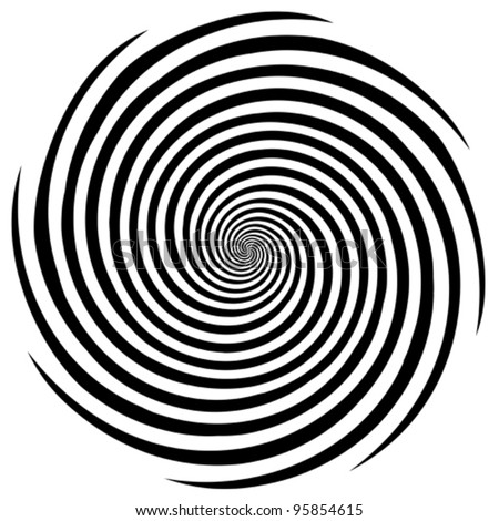 Hypnosis Spiral, concept for hypnosis, unconscious, chaos, extra sensory perception, psychic, stress, strain, optical illusion, headache, migraine. Black and white descending pattern. EPS8 compatible.