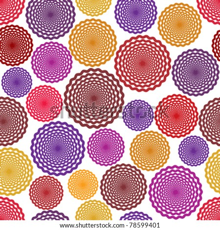 Hypnotic circles seamless pattern. Vector repeat background.
