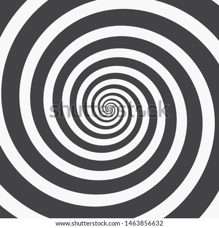 Hypnotic Spiral Background. Three Black Spirals on White or Vice Versa. Monochrome Vector Illustration Foto stock ©