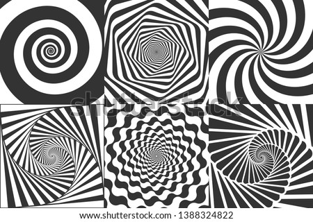 Hypnotic spiral. Swirl hypnotize spirals, vertigo geometric illusion and rotating stripes round pattern vector illustration set
