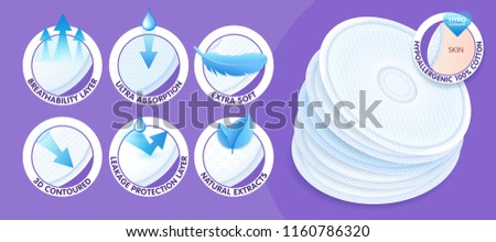 Hypoallergenic layered disposable breast pads while offering excellent breathability, protection and comfort. Concept with icons. Vector eps10.