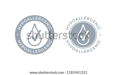 Hypoallergenic tested logo icon. Vector drop icon of hypoallergenic package label or dermatology test tag for sensitive skin of kid cosmetic lotion or skincare and bodycare products