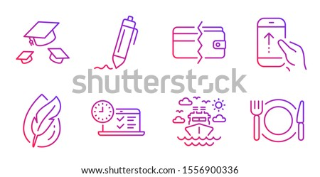 Hypoallergenic tested, Ship travel and Online test line icons set. Payment methods, Swipe up and Throw hats signs. Signature, Restaurant food symbols. Feather, Cruise transport. Business set. Vector