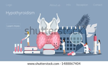Hypothyroidism concept vector. Endocrinologists diagnose and treat human thyroid gland. Specialists make blood test on hormones. Medicine landing page template for website, app, banner.