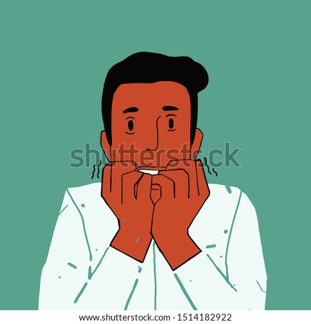 Hysterical guy looking in despair and panic, nervous, worried, hands near mouth, bites his nails, conception of panic. Flat vector illustration