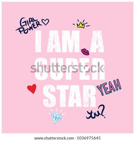 I am a super star typography design.Funny t-shirt design for kids.
