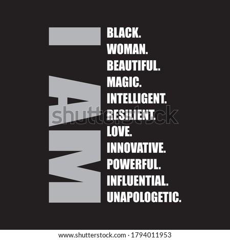 i am black woman t shirt design