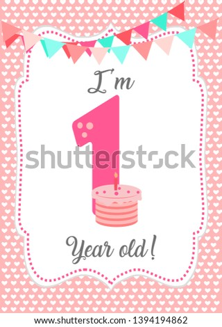 I am one year old - Baby Milestone card. Cute design with Pink background. - Vector ストックフォト ©