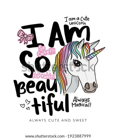 I am so beautiful slogan text and unicorn drawing illustration design for fashion graphics, t shirt prints, posters, stickers etc Stok fotoğraf ©