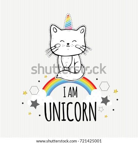 i am unicorn cute vector
