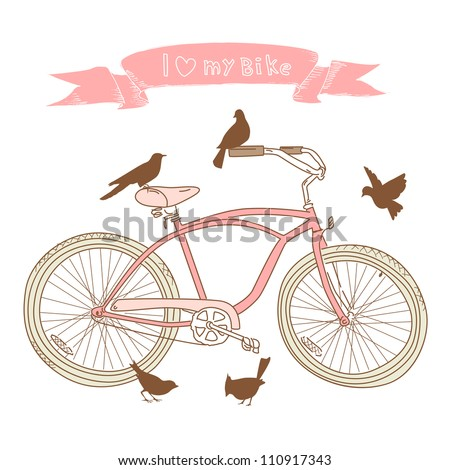 i heart my bike  a hand drawn