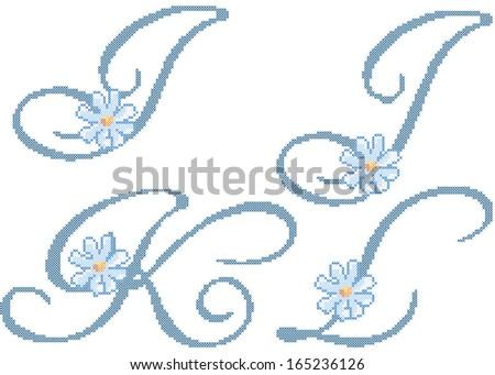 Free Cross Stitch Alphabet Vector Download Free Vector Art Stock
