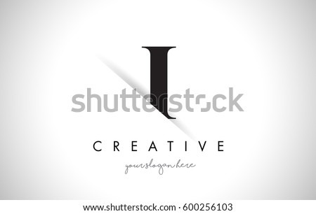 I Letter Logo Design with Creative Paper Cut and Serif Font. #600256103