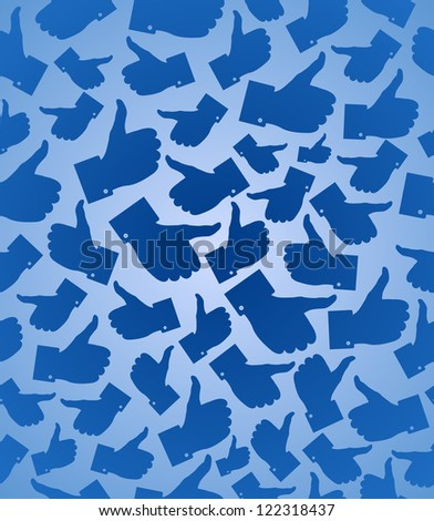 I Like it blue thumb up seamless pattern background. Vector illustration layered for easy manipulation and custom coloring.