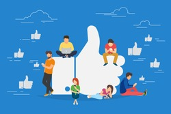 I like it concept illustration of young people using mobile gadgets such as laptop, tablet pc and smartphone for social networking and blogging. Flat design of guys and women near big symbol