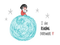 I like reading everywhere. Little girl reading in the Moon. Hand drawn vector illustration.